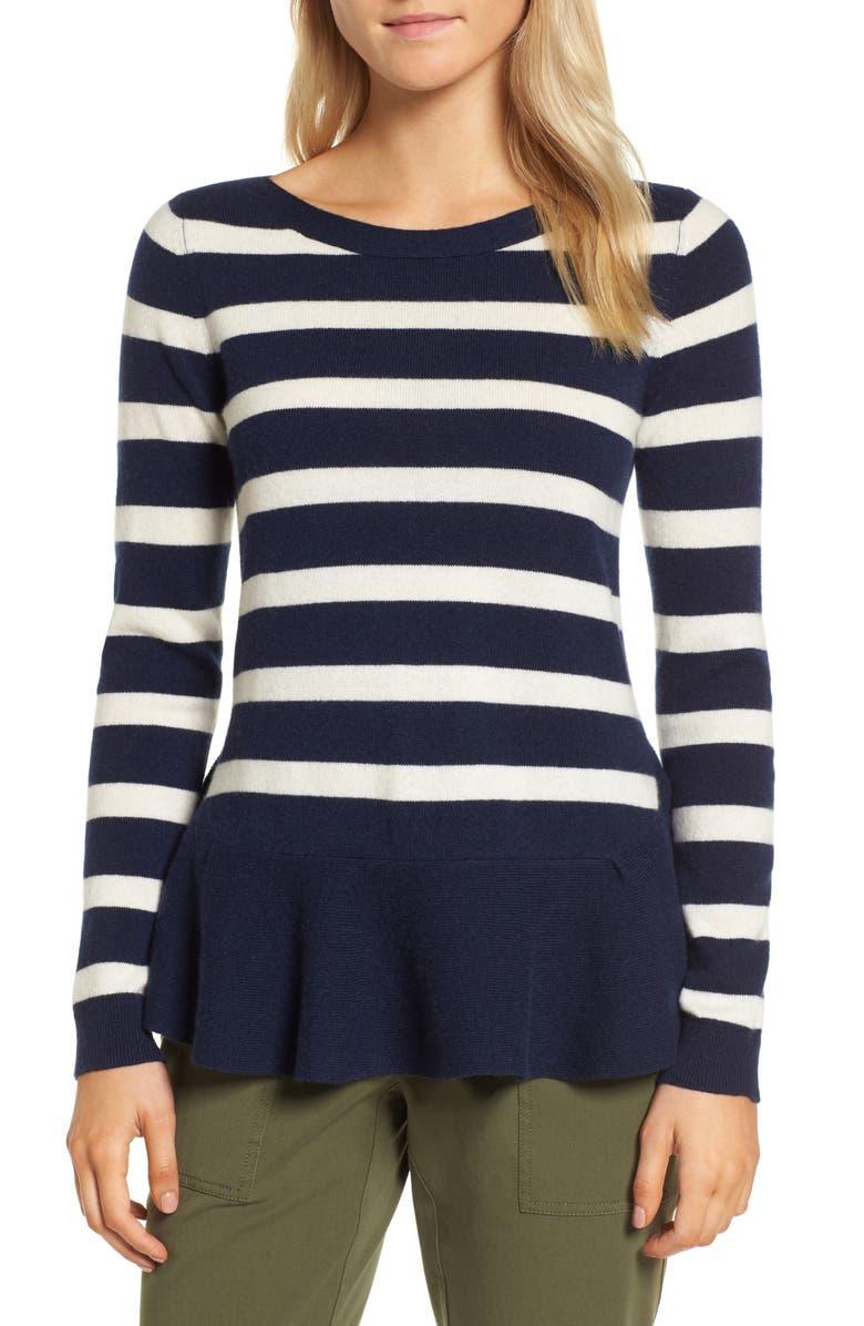 NORDSTROM SIGNATURE Ruffle Stripe Cashmere Sweater, Main, color, 401