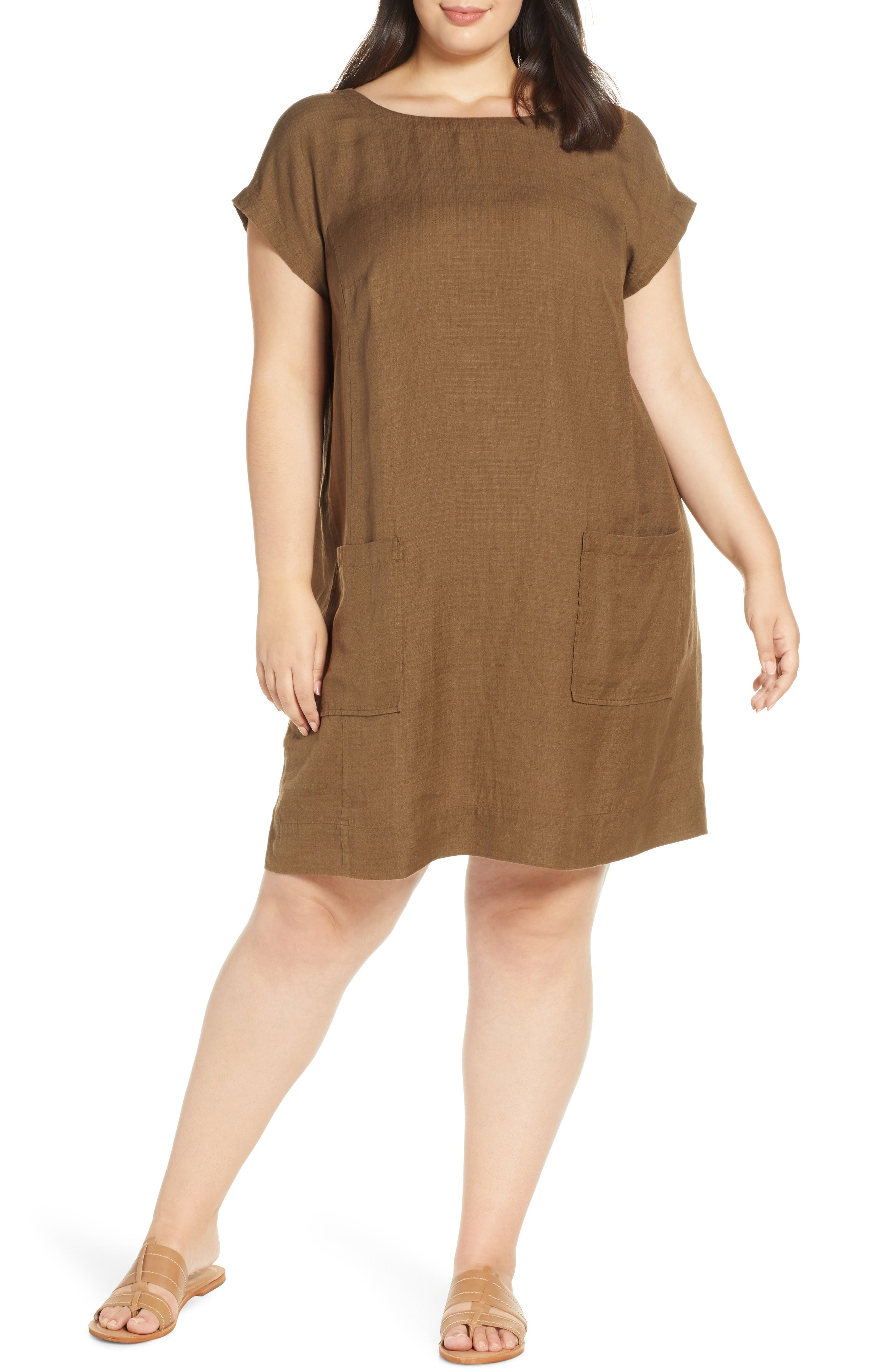Plus Size Eileen Fisher Boatneck Linen Blend Shift Dress, Brown