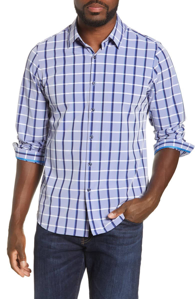 MOVE PERFORMANCE APPAREL Regular Fit Plaid Button-Up Performance Shirt, Main, color, BLUE