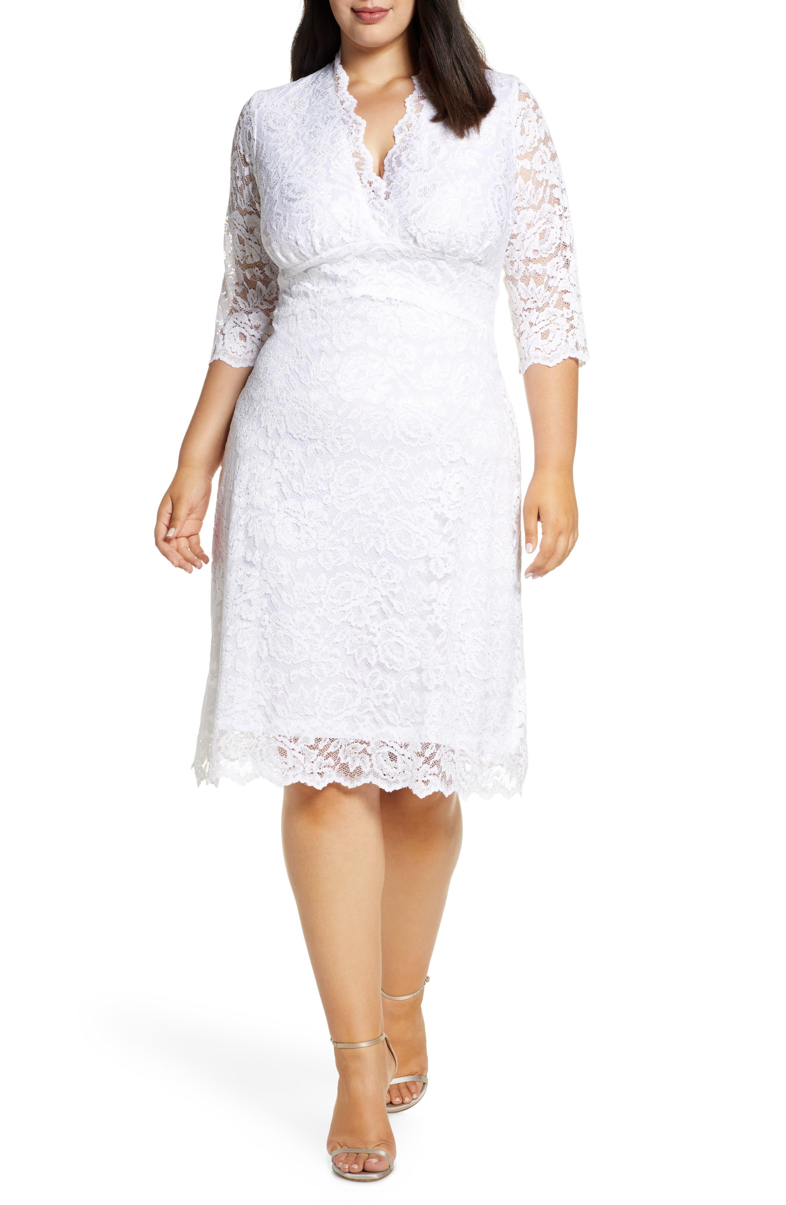 60s Wedding Dresses | 70s Wedding Dresses Plus Size Womens Kiyonna Lace Cocktail Dress $174.40 AT vintagedancer.com