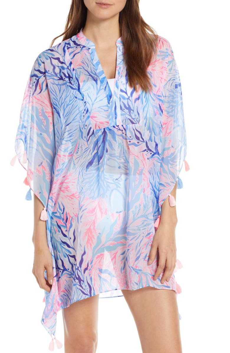 LILLY PULITZER<SUP>®</SUP> Arline Cover-Up Caftan, Main, color, CREW BLUE TINT KALEIDOSC