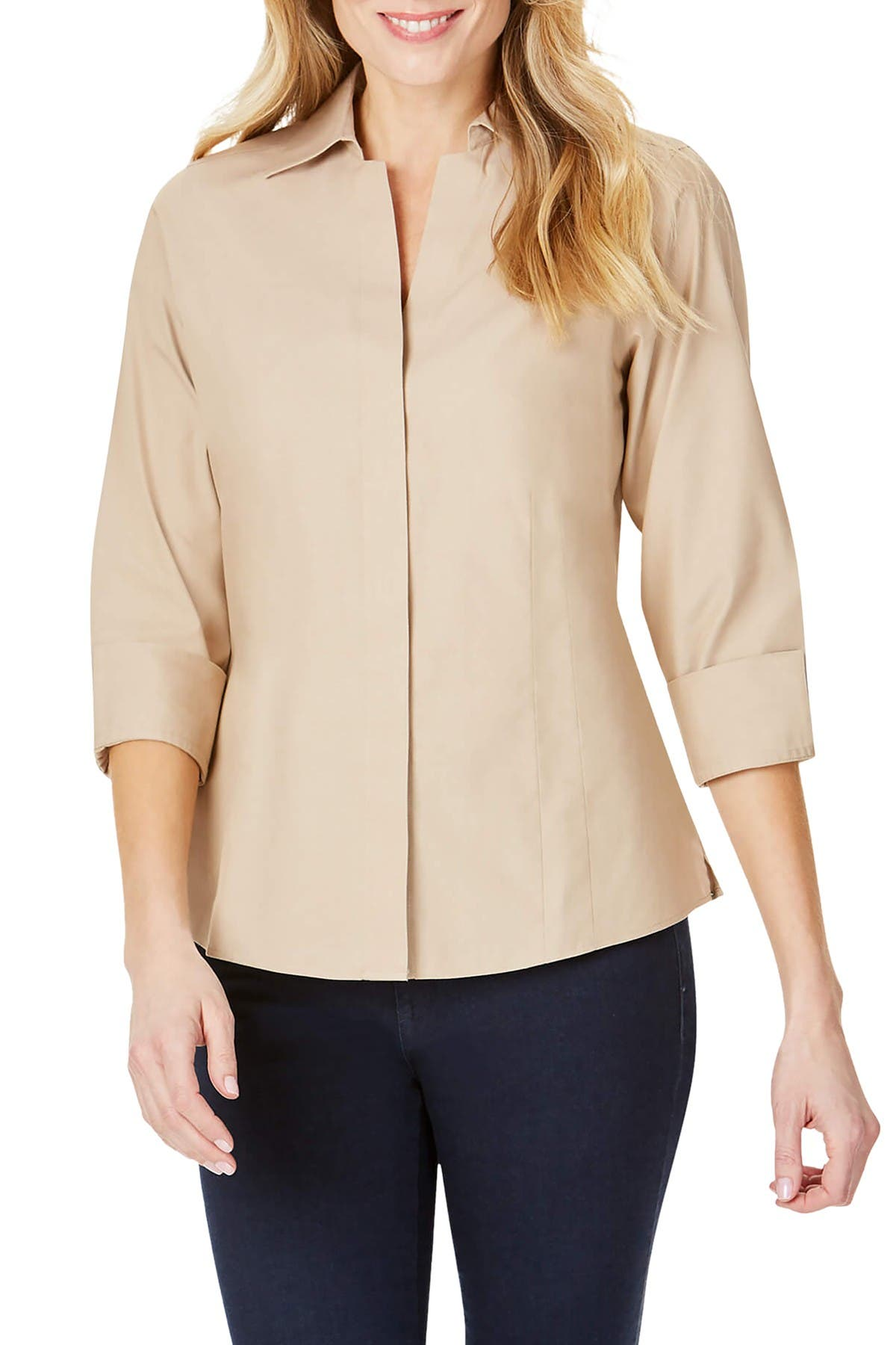 Image of FOXCROFT Taylor Fitted Collar Blouse