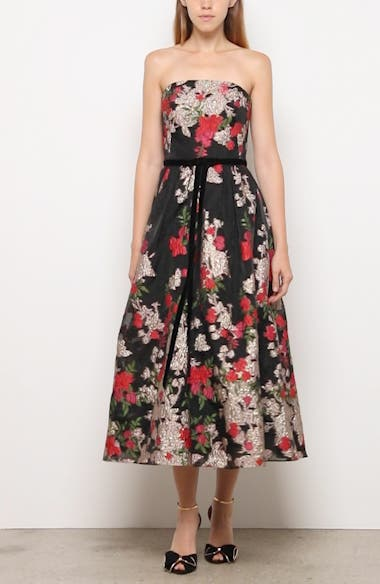 Floral Embroidered Strapless Midi Dress, video thumbnail