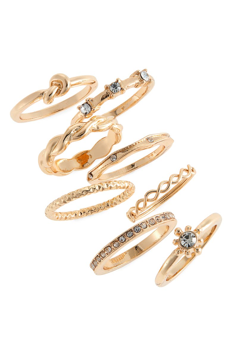 BP. Set of 8 Stacking Rings, Main, color, CLEAR- GOLD