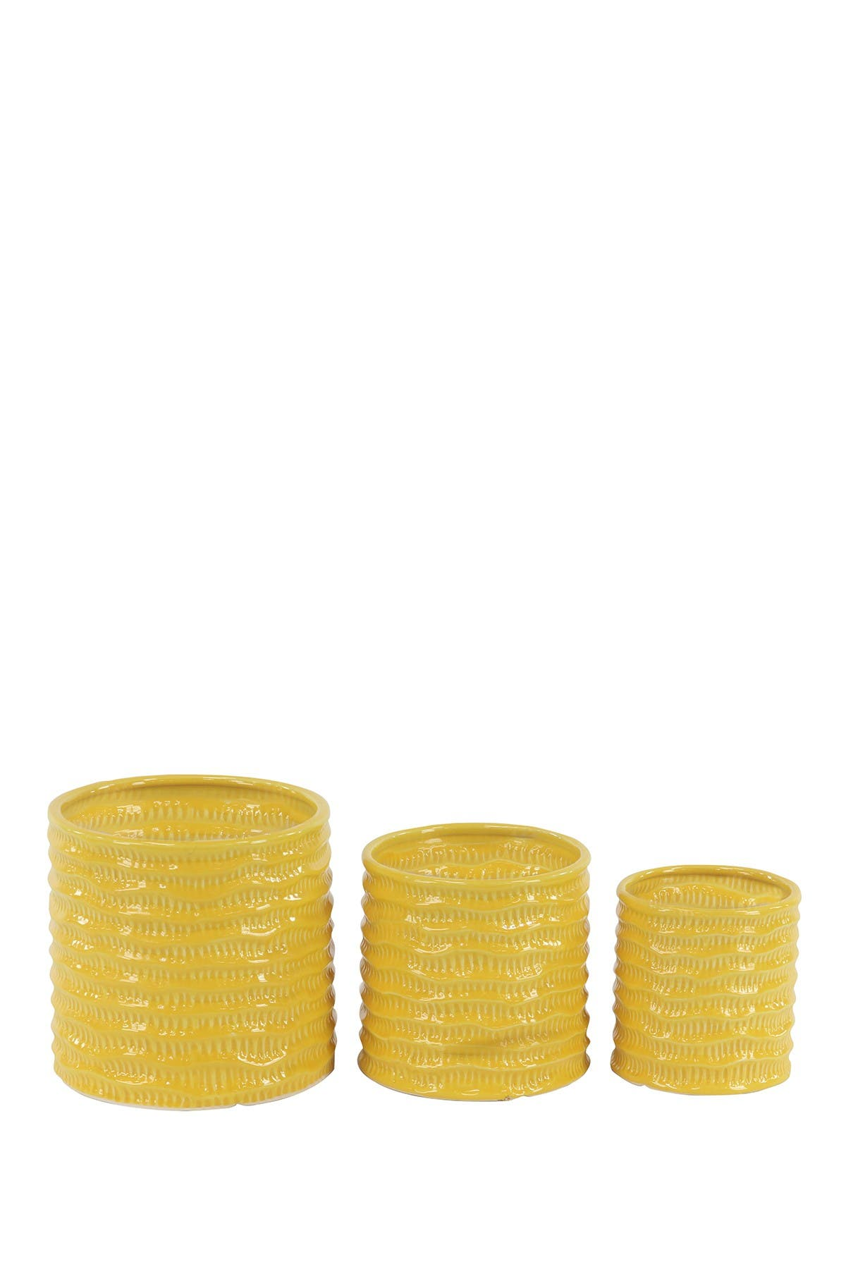 Willow Row Contemporary Cylindrical Yellow Porcelain Planters - Set of 3 at Nordstrom Rack