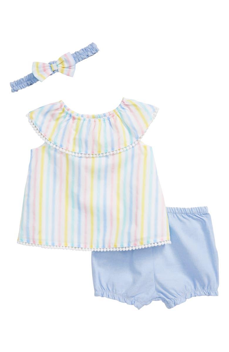 LITTLE ME Stripe Shirt, Chambray Shorts & Headband Set, Main, color, MULTI