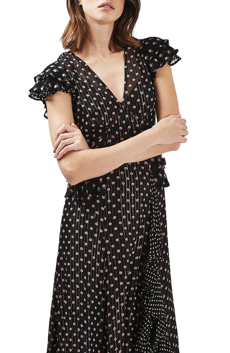 TOPSHOP Ruffle Midi Dress, Main, color, BLACK MULTI