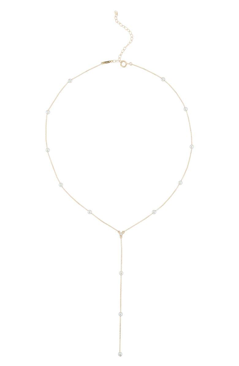 MIZUKI Diamond & Pearl Station Necklace, Main, color, YELLOW GOLD/ PEARL
