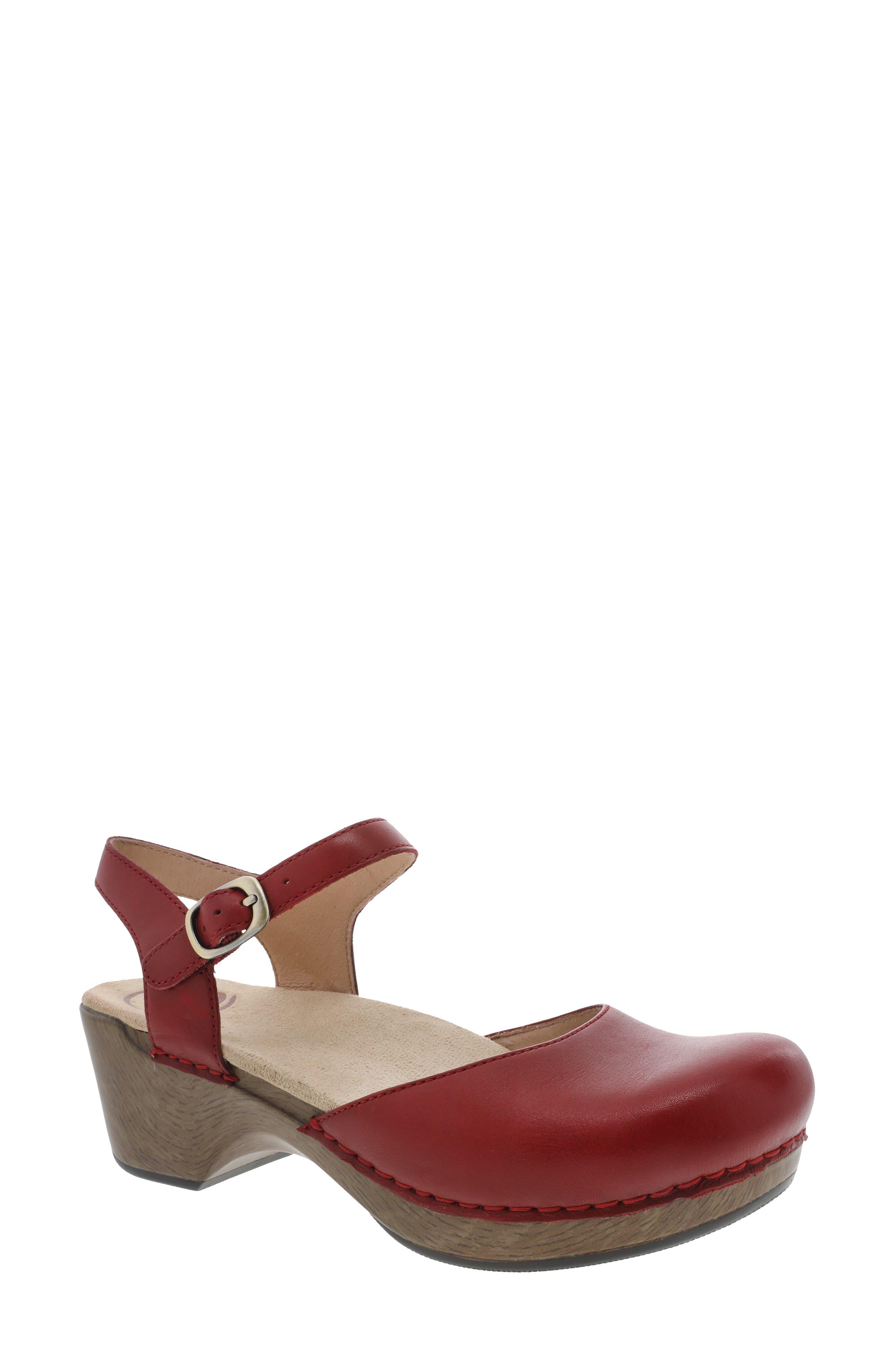 Women/'s Dansko Comfort Sandal Clog Anna Coral Leather