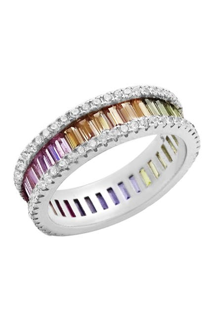 Image of Savvy Cie Sterling Silver Channel Set Baguette Cut Rainbow CZ & Pave CZ Band Ring