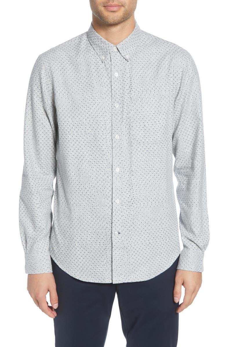CLUB MONACO Slim Fit Flannel Button-Down Shirt, Main, color, GREY