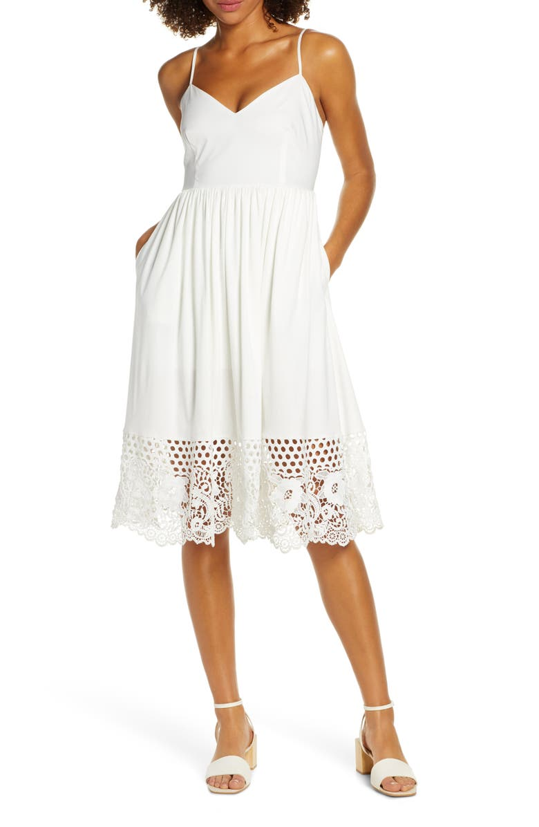 FRENCH CONNECTION Salerno Lace Border Sundress, Main, color, SUMMER WHITE