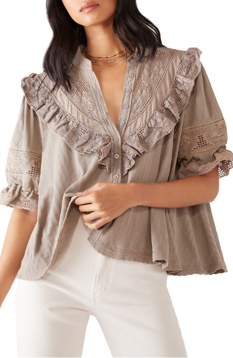 FREE PEOPLE Walk in the Park Button-Up Top, Main, color, SAGE BEIGE