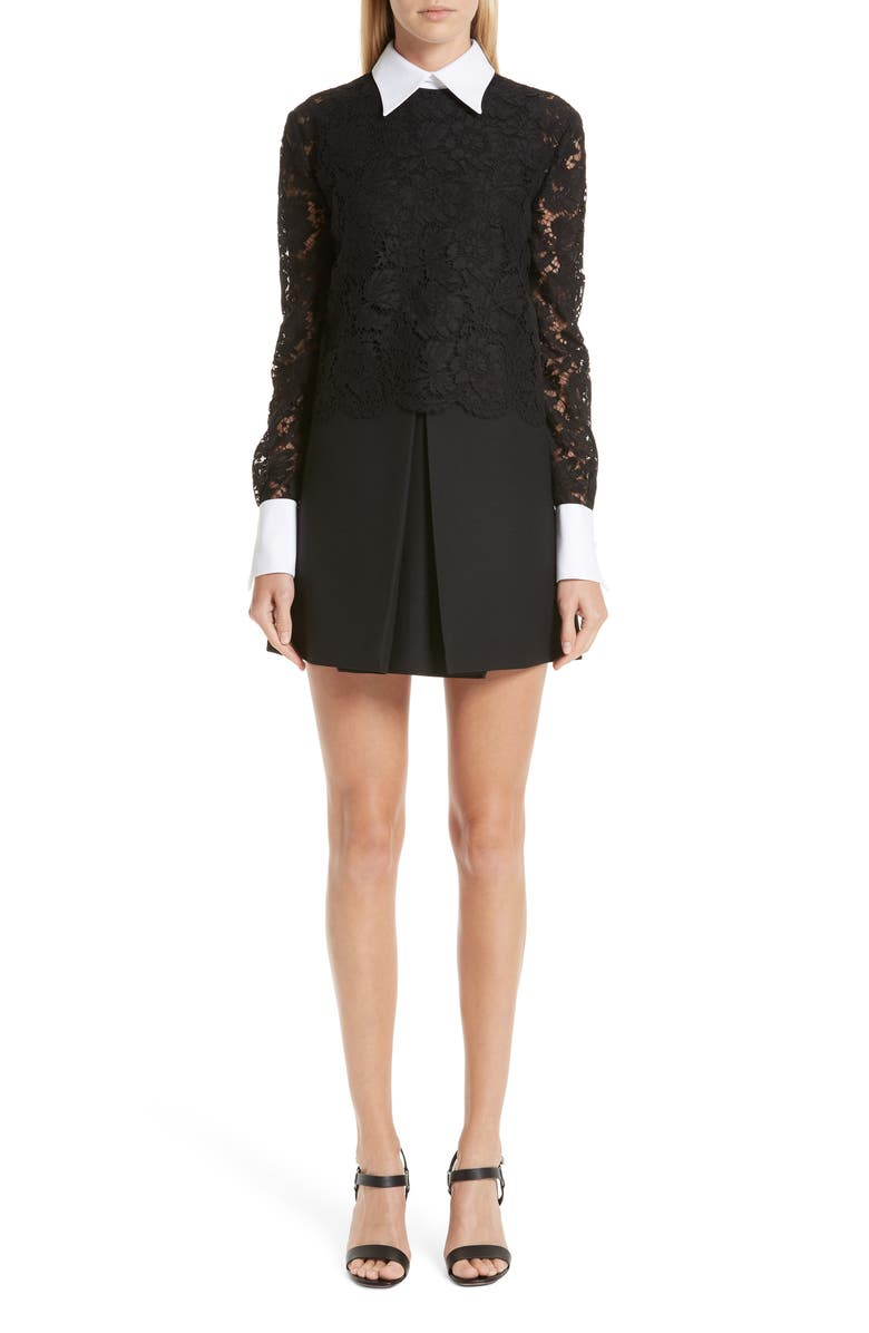 VALENTINO Contrast Collar Lace & Crepe Couture Dress, Main, color, 001