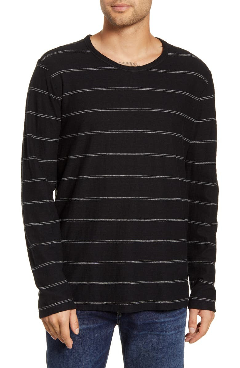 BLDWN Tilden Stripe Long Sleeve Hemp & Organic Cotton T-Shirt, Main, color, BLACK/ WHITE