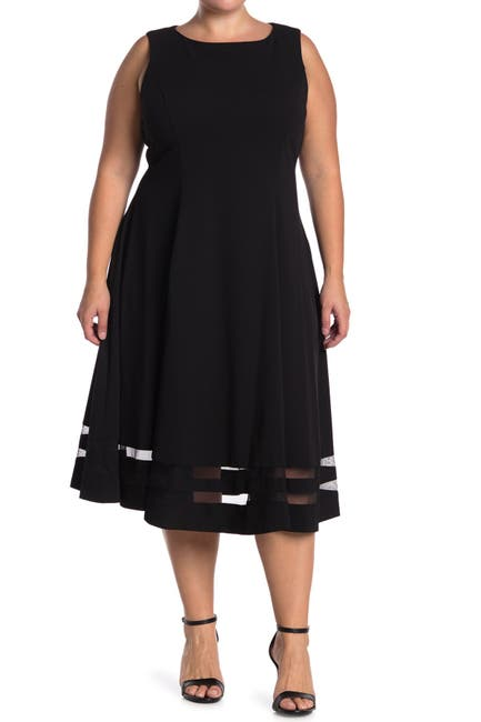 Image of Calvin Klein Illusion Stripe Fit & Flare Midi Dress