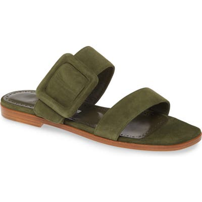 Manolo Blahnik Tituba Buckle Slide Sandal, Green