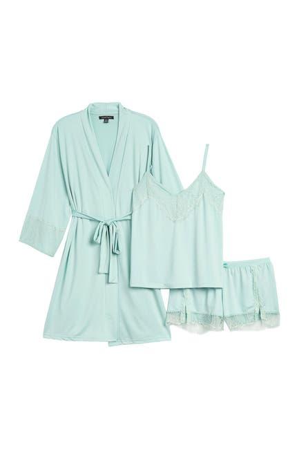 Image of Nanette Lepore Lace Trim Camisole, Shorts, & Robe 3-Piece Pajama Set