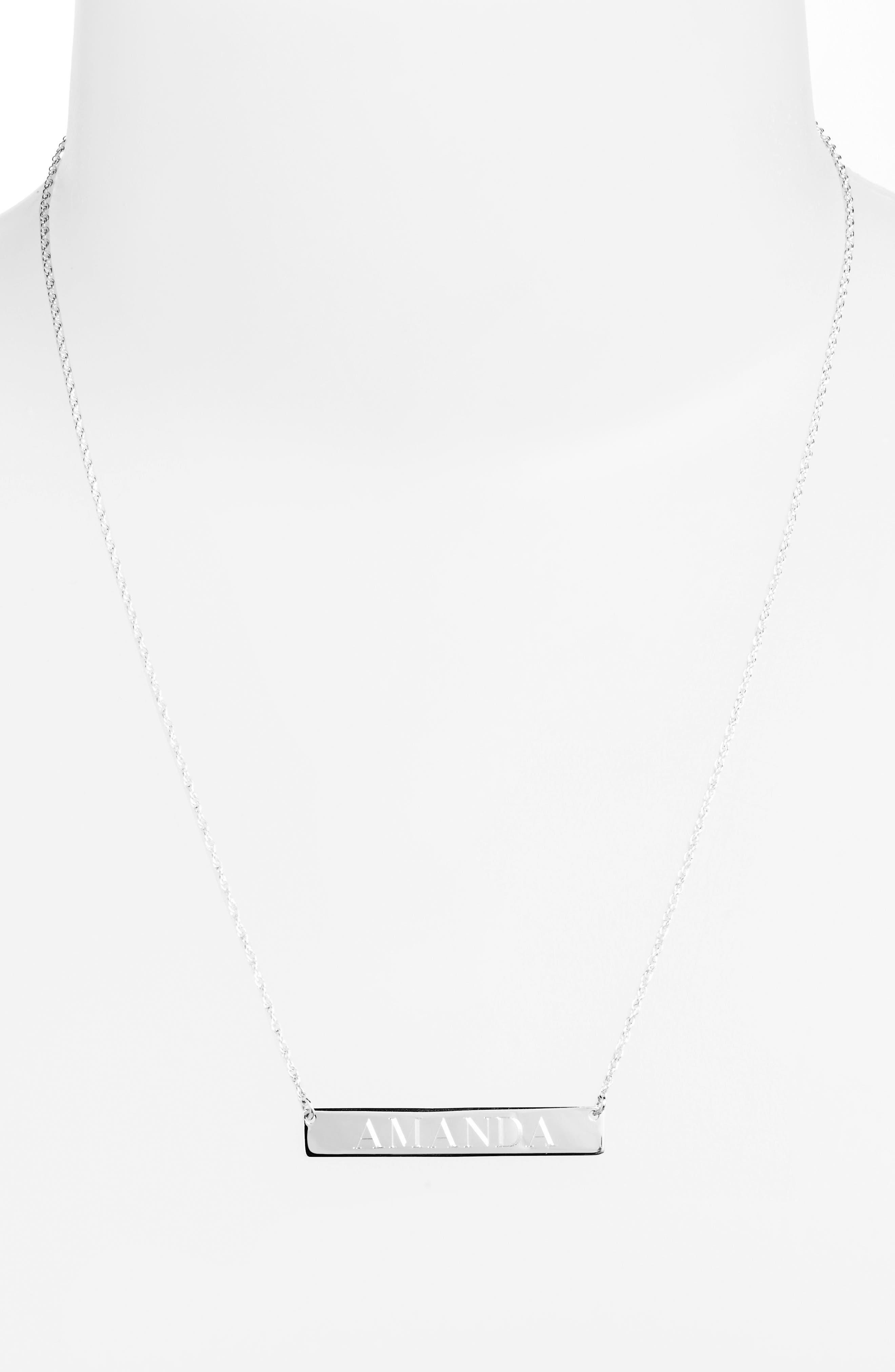 ,                             Personalized Bar Pendant Necklace,                             Alternate thumbnail 3, color,                             SILVER