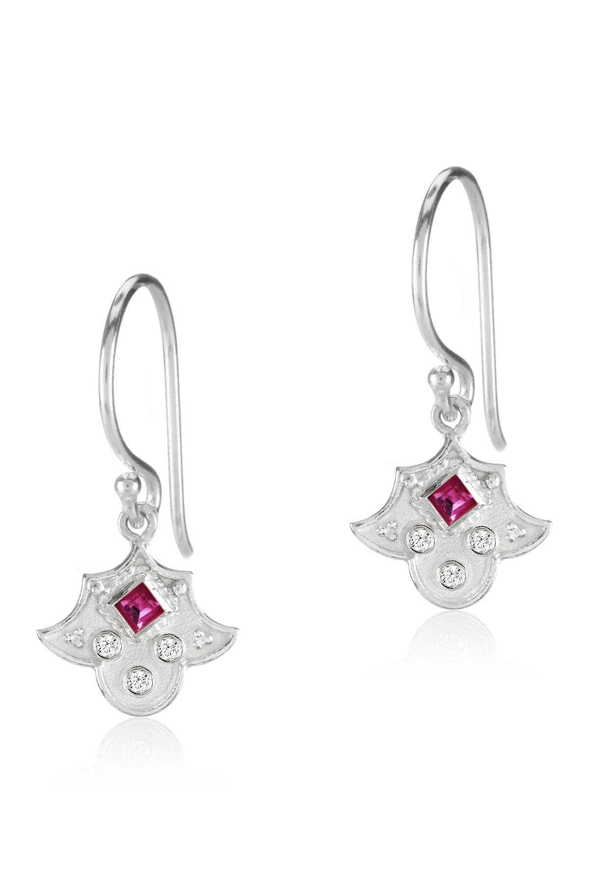 Image of LEGEND AMRAPALI SILVER Sterling Silver Heritage Amulet Pink Ruby & Diamond Dangle Earrings