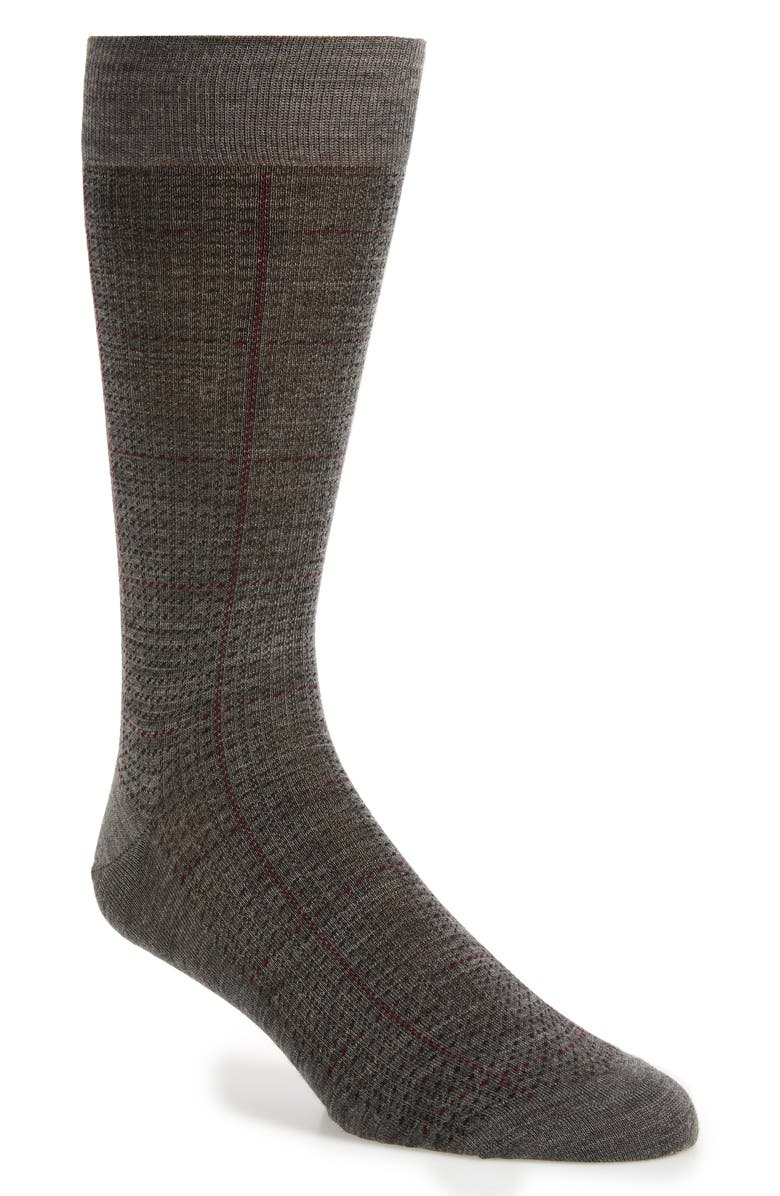 PANTHERELLA Windowpane Merino Wool Blend Socks, Main, color, MID GREY