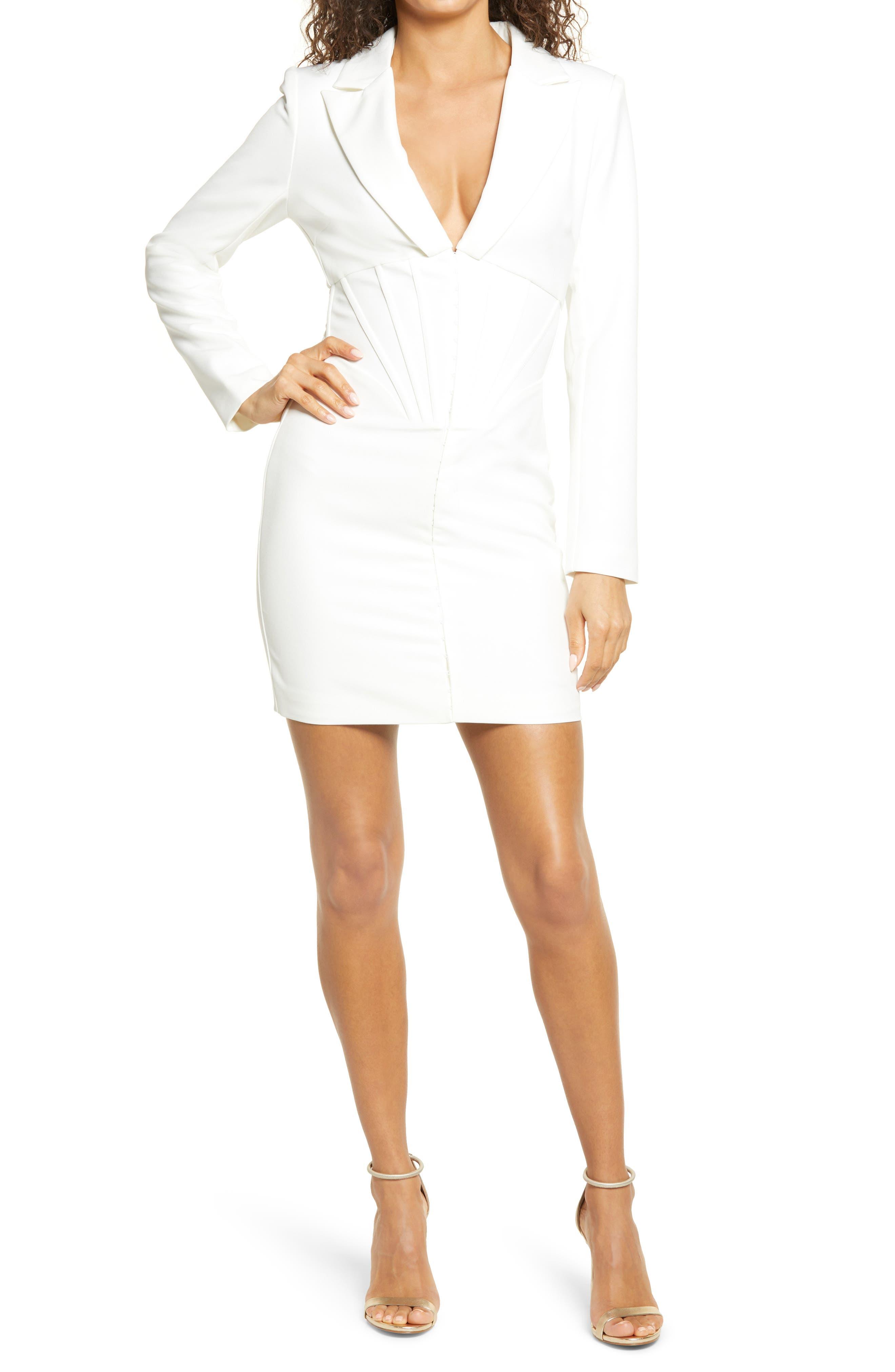 Corset Long Sleeve Tux Minidress