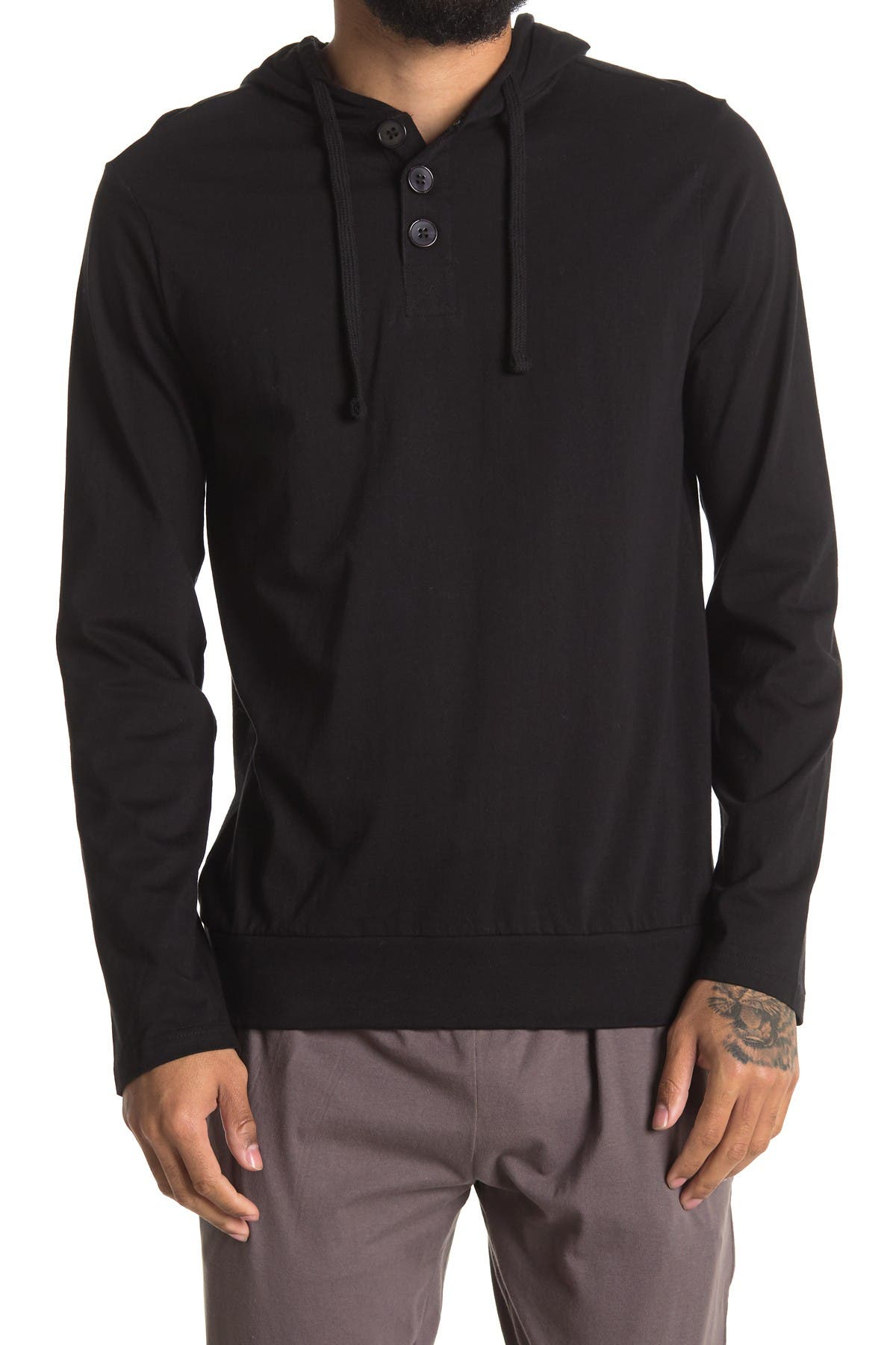 Image of Unsimply Stitched Long Sleeve Light Weight Hooded Henley