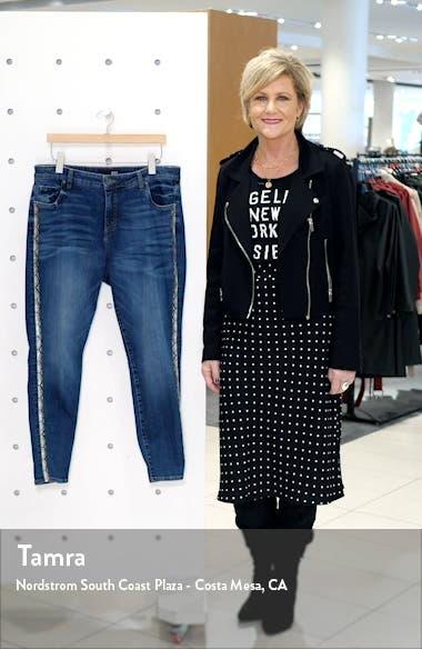 Donna Snake Print Side Stripe Ankle Skinny Jeans, sales video thumbnail