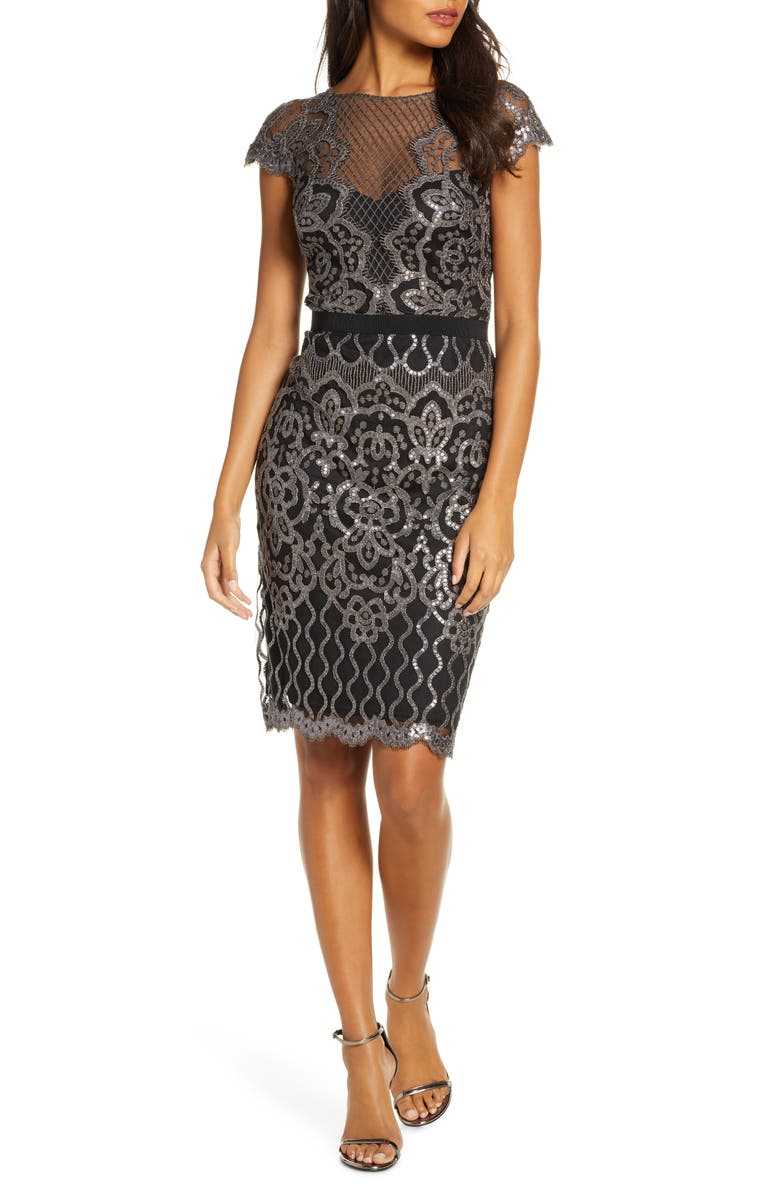 TADASHI SHOJI Sequin Embellished Dress, Main, color, DARK PEARL/ BLACK