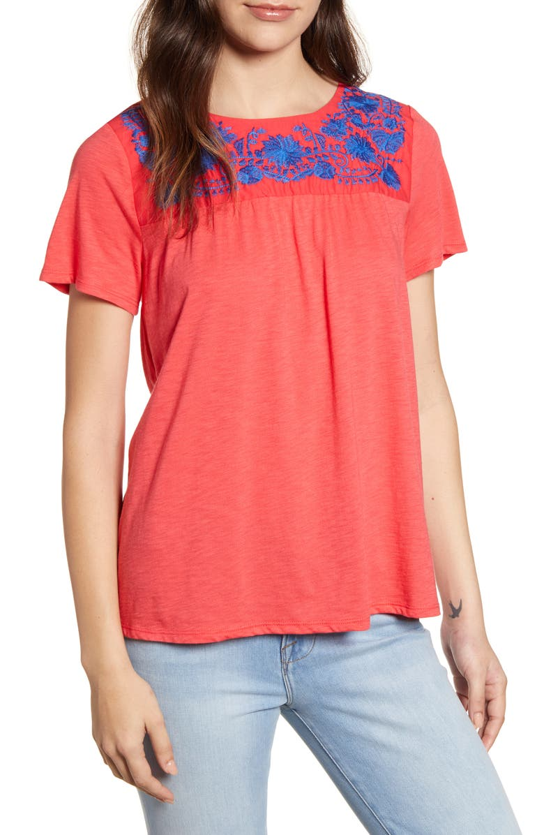 GIBSON x Hi Sugarplum! Savannah Embroidered Yoke Tee, Main, color, CORAL RED