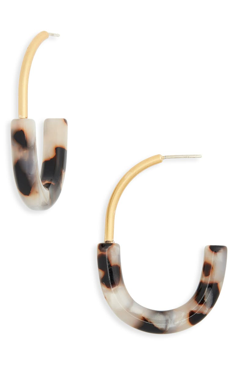 MADEWELL Half-and-Half Hoop Earrings, Main, color, SHELL TORT