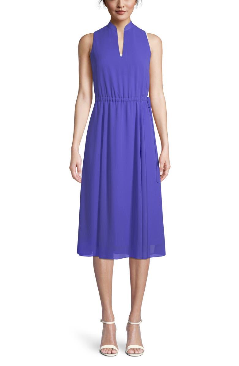ANNE KLEIN Split Neck Midi Dress, Main, color, 500