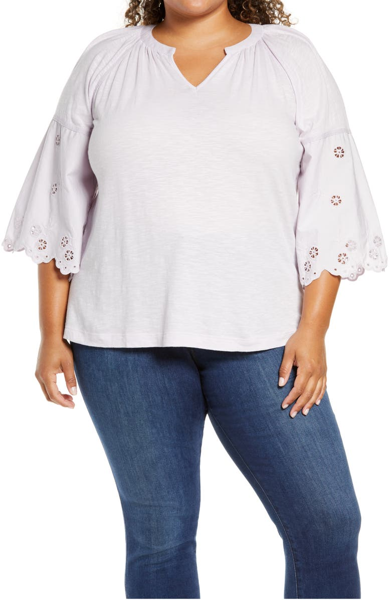 CASLON<SUP>®</SUP> Eyelet Sleeve Knit Top, Main, color, 100