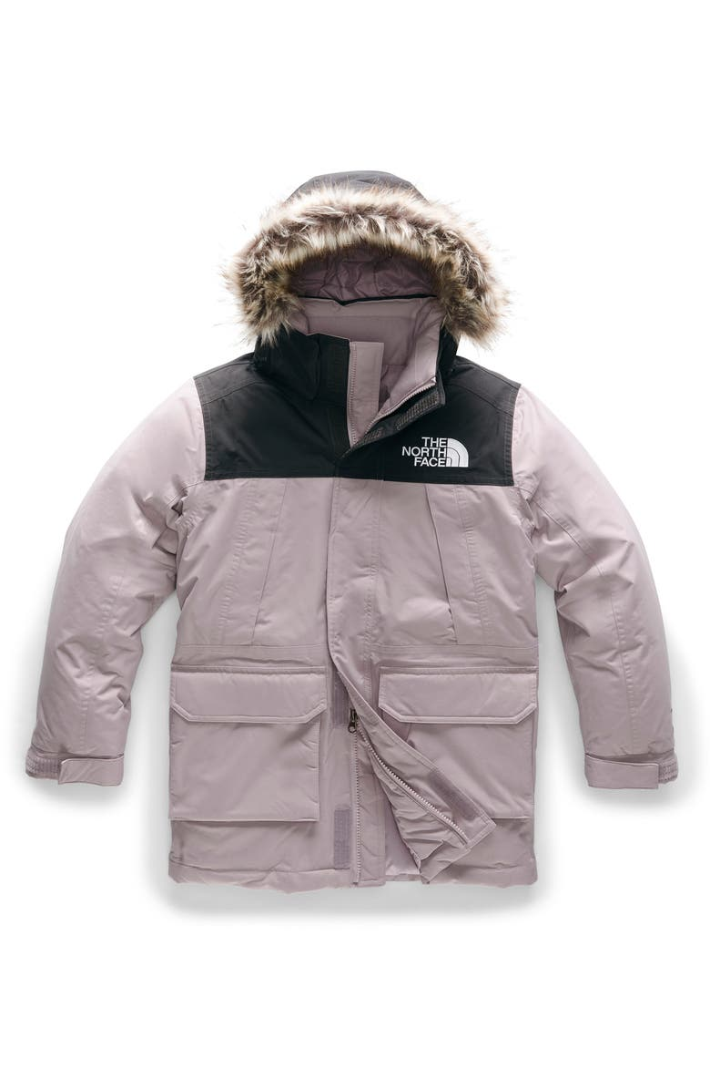 THE NORTH FACE McMurdo Waterproof 550 Fill Power Down Parka with Faux Fur Trim, Main, color, ASHEN PURPLE