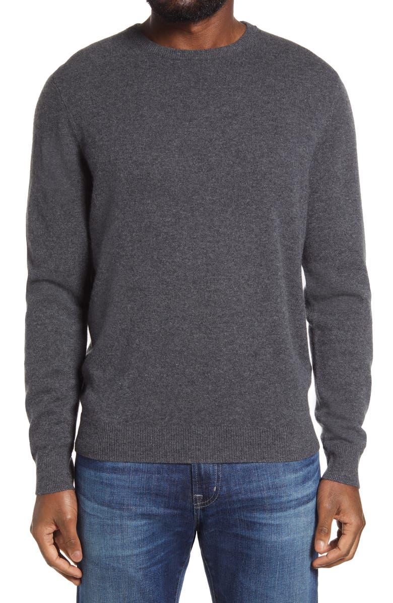 NORDSTROM MEN'S SHOP Cashmere Crewneck Sweater, Main, color, GREY SHADE HEATHER