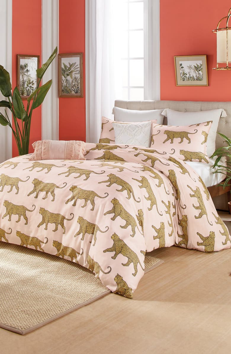 PERI HOME Catwalk Leopard Comforter & Sham Set, Main, color, BLUSH