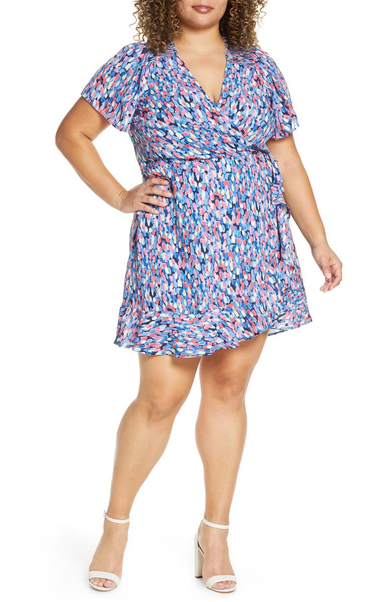 GIBSON x International Women's Day Steph Taylor Jackson Smocked Shoulder Ruffle Wrap Dress, Main, color, 500