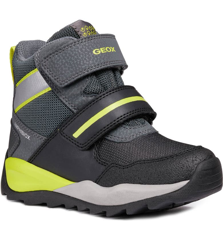 GEOX Orizont ABX Waterproof Boot, Main, color, BLACK/ LIME
