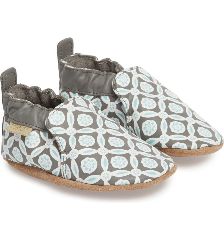 ROBEEZ<SUP>®</SUP> Khloe Moccasin Crib Shoe, Main, color, CHARCOAL