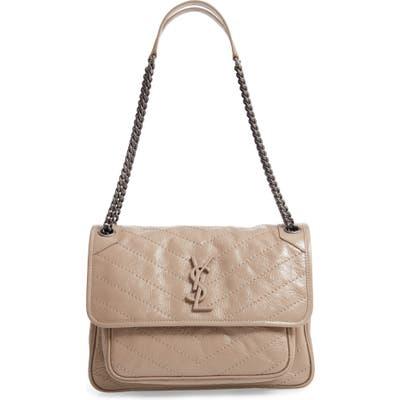 Saint Laurent Medium Niki Leather Shoulder Bag - Beige