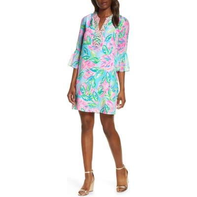 Lilly Pulitzer Elenora Floral Silk Shift Dress, Blue/green