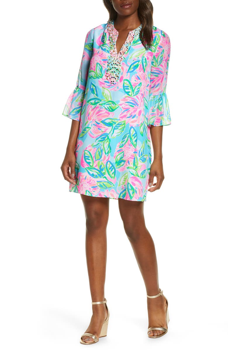 LILLY PULITZER<SUP>®</SUP> Elenora Floral Silk Shift Dress, Main, color, MULTI