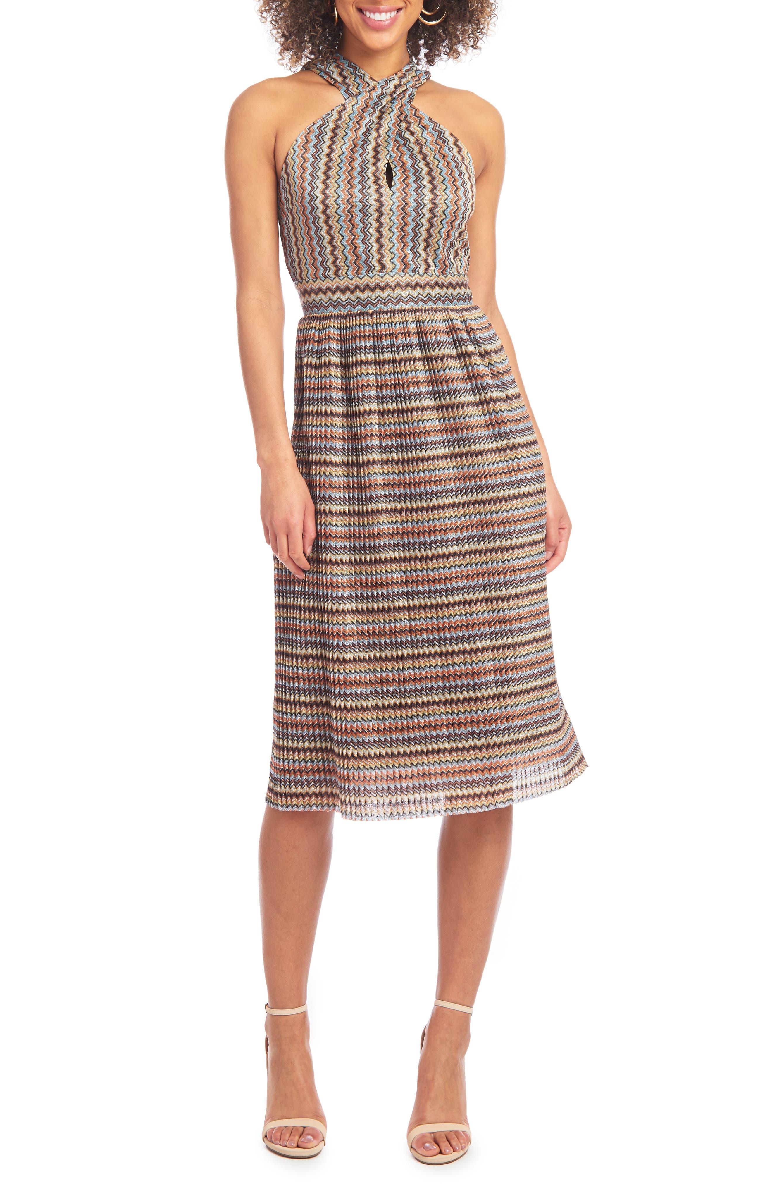 Image of Rachel Rachel Roy Chevron Lurex Halter Dress