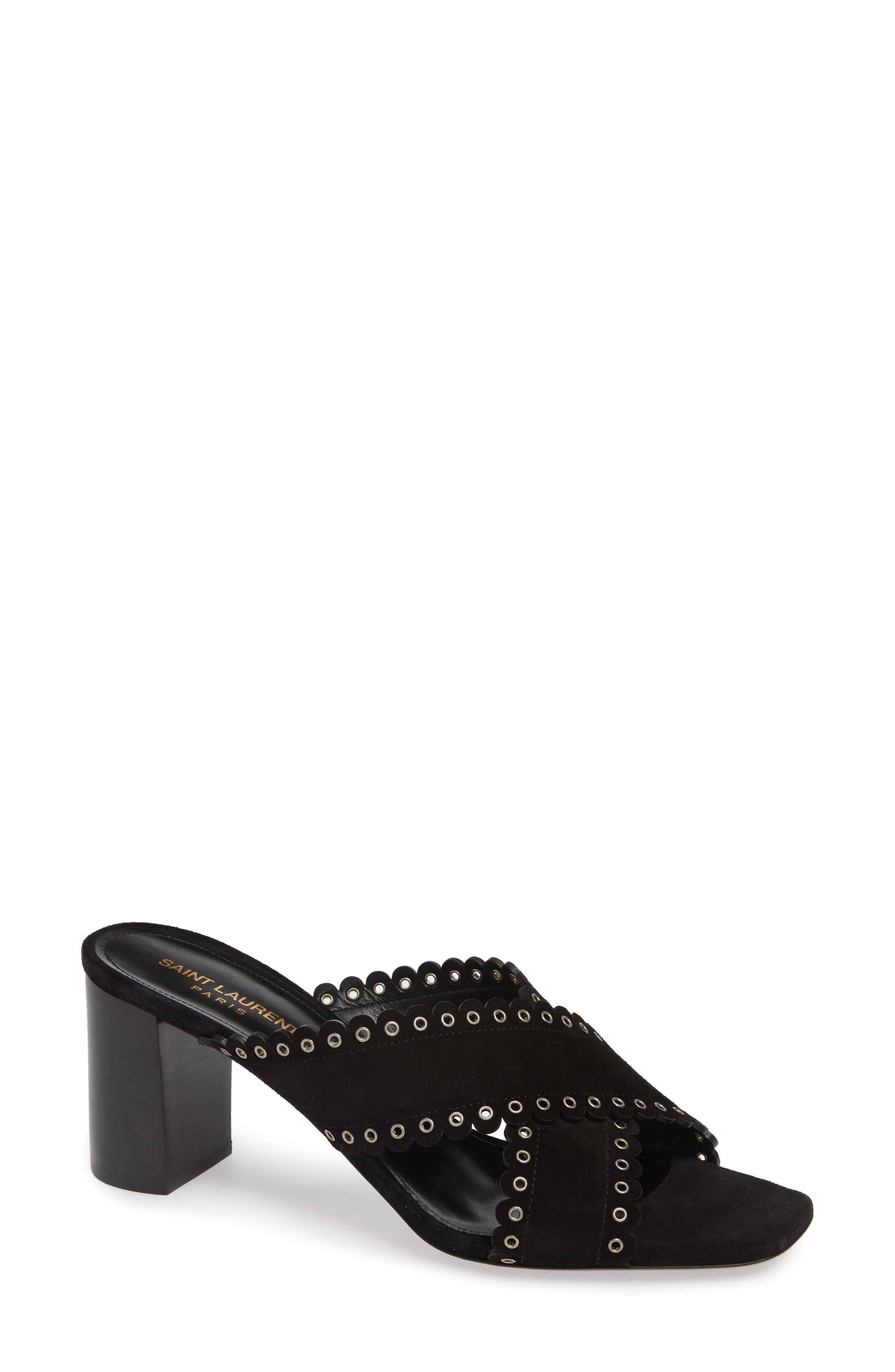 Saint Laurent Loulou Grommet Sandal - Black