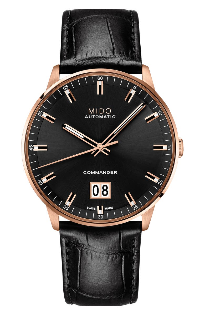 MIDO Commander II Skeleton Leather Strap Watch, Main, color, 001