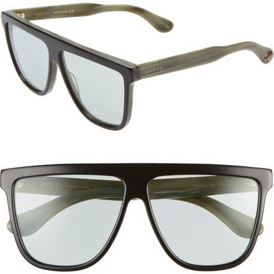 Gucci 61Mm Flat Top Sunglasses - Black/ Blue Solid