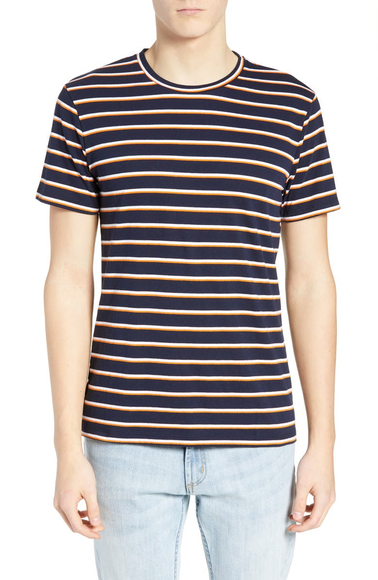 THE RAIL Stripe Crewneck T-Shirt, Main, color, BLUE - WHITE MULTI STRIPE