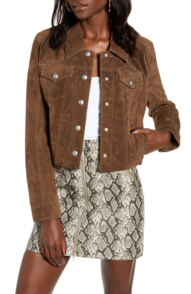 BLANKNYC Crop Suede Trucker Jacket, Main, color, RODEO