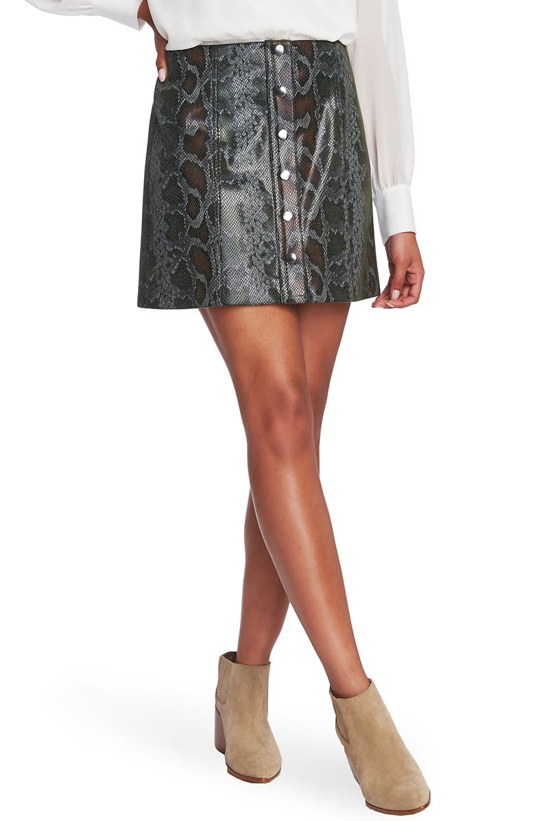 1.STATE Faux Snakeskin Miniskirt, Main, color, DEEP FOREST