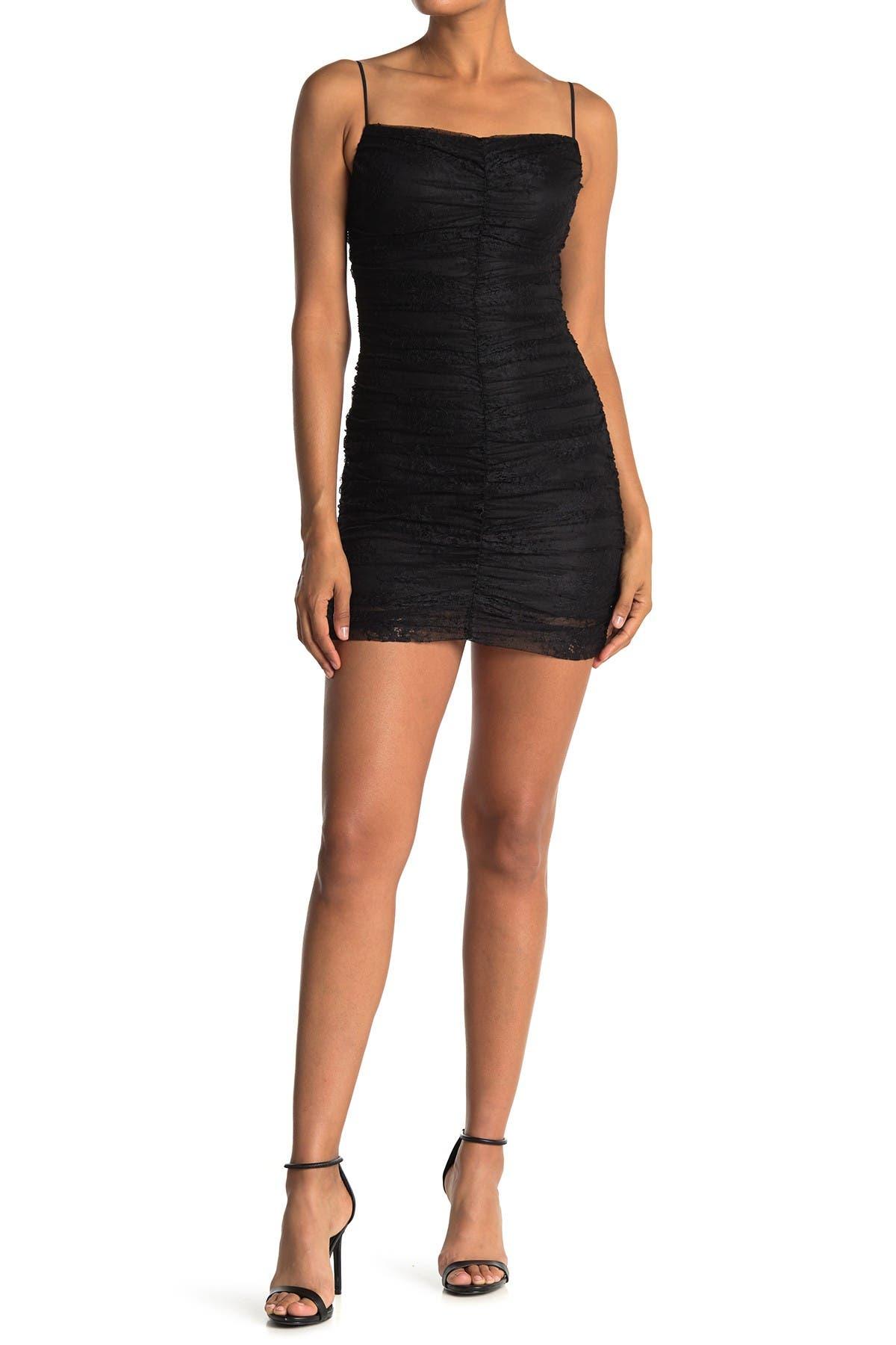 Image of Lush Ruched Lace Mini Dress